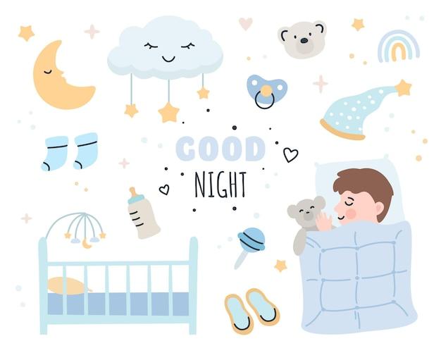 Elementi di buona notte impostati con simpatico neonato
