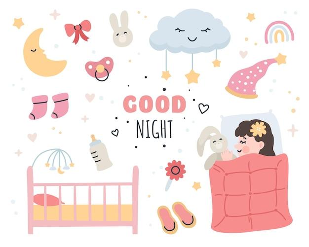 Elementi di buona notte impostati con bambina carina