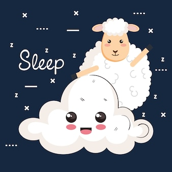 Nuvola animale della pecora del fumetto di sonno della buona notte