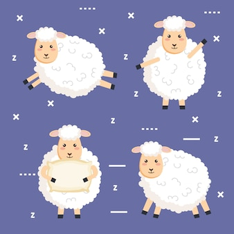 Buonanotte dormire collezione di pecore del fumetto