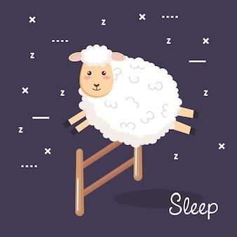 Recinto di salto delle pecore del fumetto di sonno della buona notte