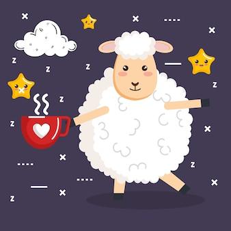 Buonanotte dormire pecore cartone animato con una tazza di caffè