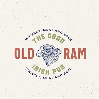 Buon vecchio ram irish pub vettore astratto segno, simbolo o modello di logo.