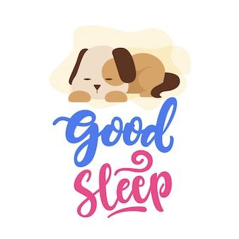 Buona illustrazione di tipografia del cane di sonno Vettore Premium