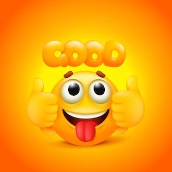 Buon adesivo con carattere emoji giallo dei cartoni animati.
