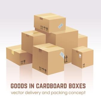 Merce in scatole di cartone