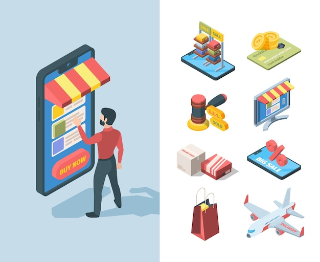 Illustrazione isometrica online del negozio di vendita di merci