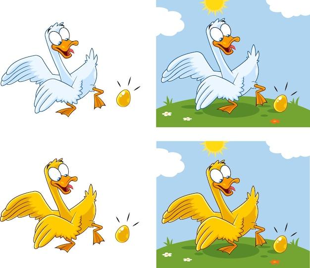 Personaggi dei cartoni animati d'oca con l'uovo. insieme di raccolta isolato