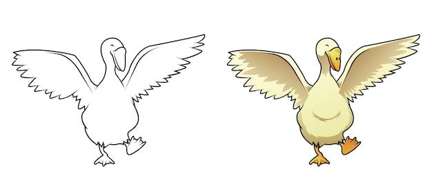 Cartone animato di oca facilmente pagina da colorare per bambini