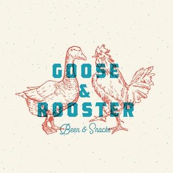 Logo di birra e snack di oca e gallo.