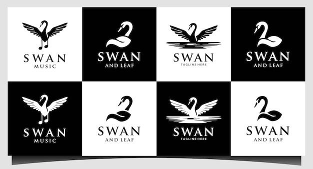 Vettore di progettazione del logo di nuoto del cigno dell'oca