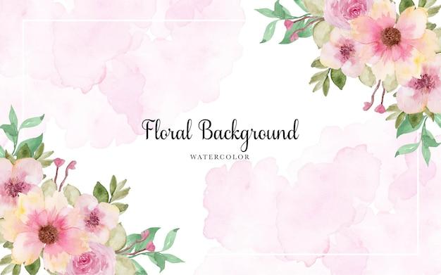Splendida cornice floreale rosa con macchia di acquerello astratto