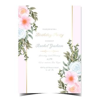 Splendida carta rosa buon compleanno con fiori