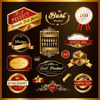 Splendida collezione di etichette dorate di alta qualità su nero