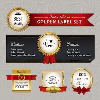 Splendida collezione di etichette dorate di alta qualità su grigio