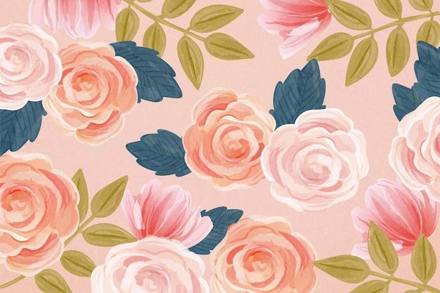 Splendido motivo a rosa con grazioso stile acquerello disegnato a mano su sfondo rosa salmone chiaro