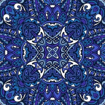 Splendido motivo senza cuciture da piastrelle orientali in denim blu, ornamenti.