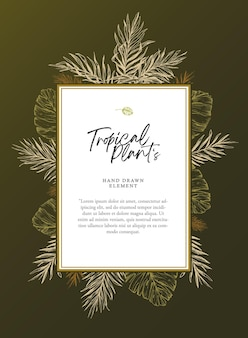 Splendida cornice modello per invito a una festa di matrimonio tropicale estivo decorato con foglie di palma schizzo elegante versione scura