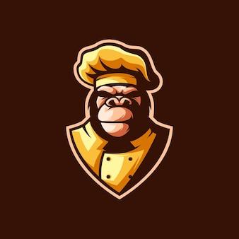 Gorila chef illustrazione disegnata a mano