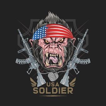 Bandiera di gorilla america usa con l'arte della pistola macchina
