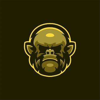 Illustrazione del modello di logo del fumetto della testa di animale della gorilla esport logo gaming premium vector
