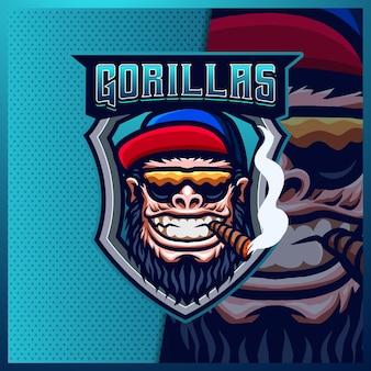 Gorilla scimmie bestia mascotte esport logo design illustrazioni modello, gorilla stile cartone animato