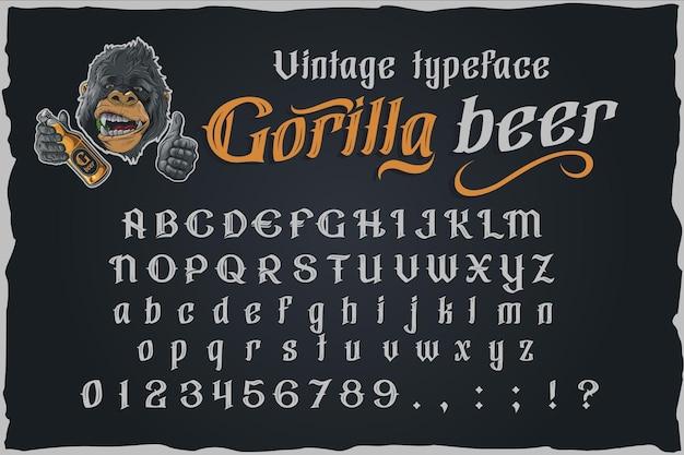 Carattere dell'etichetta di vettore dell'annata della birra di gorilla