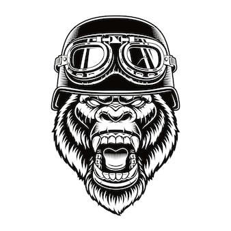 Carattere motociclista gorilla isolato su bianco