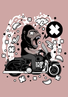 Illustrazione di gorilla biker
