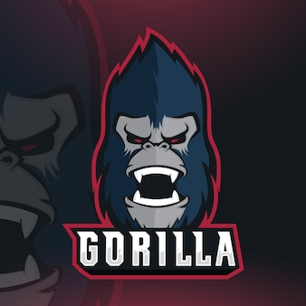 Gorilla esport mascot logo design vettoriale