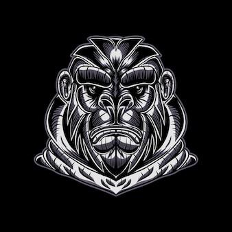 Illustrazione vettoriale di gorilla faccia