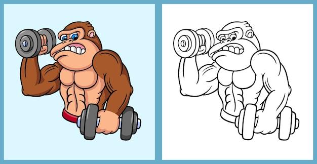 Personaggio dei cartoni animati di gorilla fitness