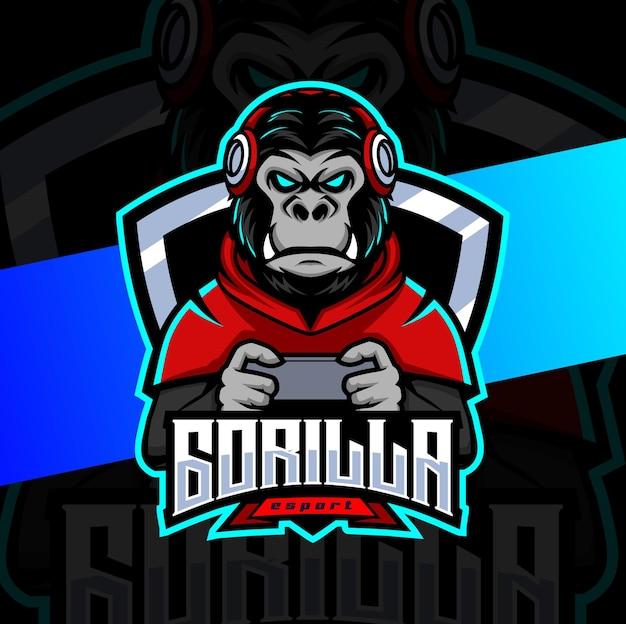 Personaggio del design del logo esport della mascotte del giocatore gorillailla