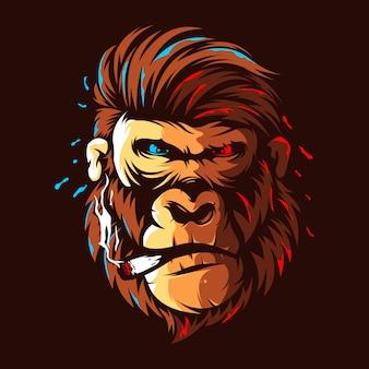 Gorilla testa illustrazione design logo a colori