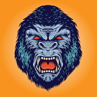 Gorilla head kingkong angry illustrazioni logo