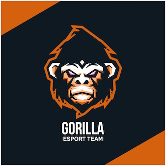 Logo della testa di gorilla per sport o esport team