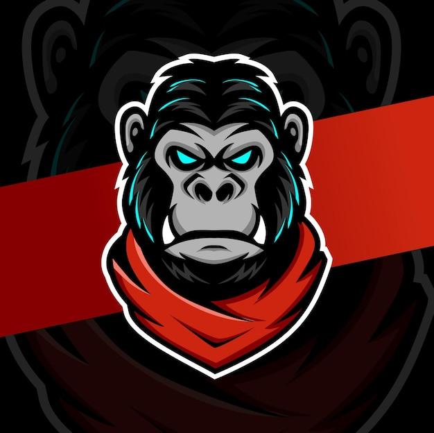 Carattere di design del logo esport della mascotte della testa di gorilla per il logo di giochi e sport