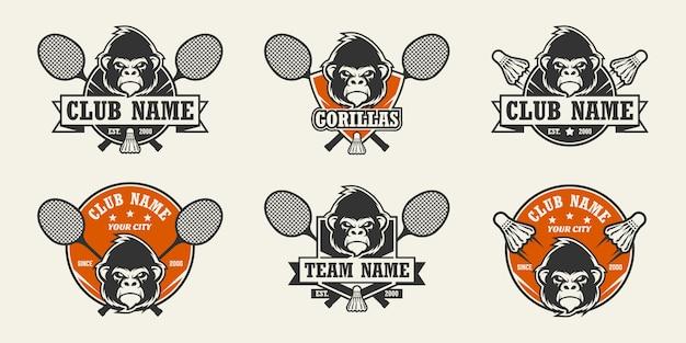 Logo sport testa di gorilla. set di loghi di badminton.