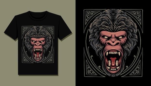 Disegno dell'illustrazione della maglietta della testa di gorilla