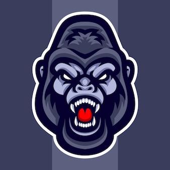 Testa di gorilla Vettore Premium