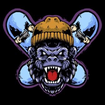 Testa di gorilla con cappello e skateboard design mascotte
