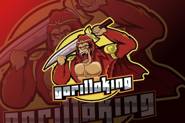 Gorilla che tiene la mascotte della spada per il logo di sport e esports isolato