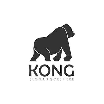 Modello di progettazione di logo gorilla e king kong Vettore Premium