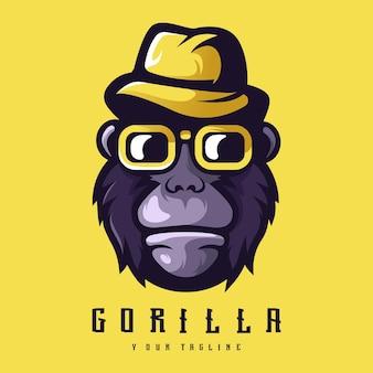 Modello di logo di gorilla, gorilla moderno con cappello e occhiali da sole