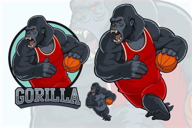 Mascotte gorilla per squadra di basket
