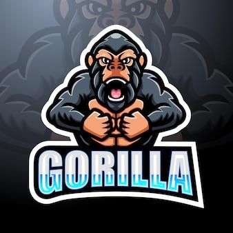 Gorilla mascotte esport logo design