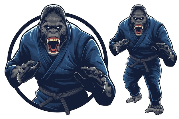 Mascotte di gorilla e illustrazione per eventi di arti marziali / palestra