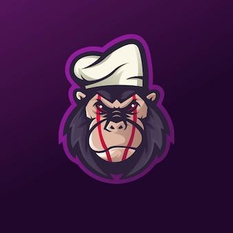 Vettore di progettazione di logo della mascotte della gorilla con stile moderno di concetto dell'illustrazione per stampa del distintivo, dell'emblema e della maglietta.