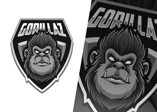 Illustrazione del logo della mascotte della gorilla
