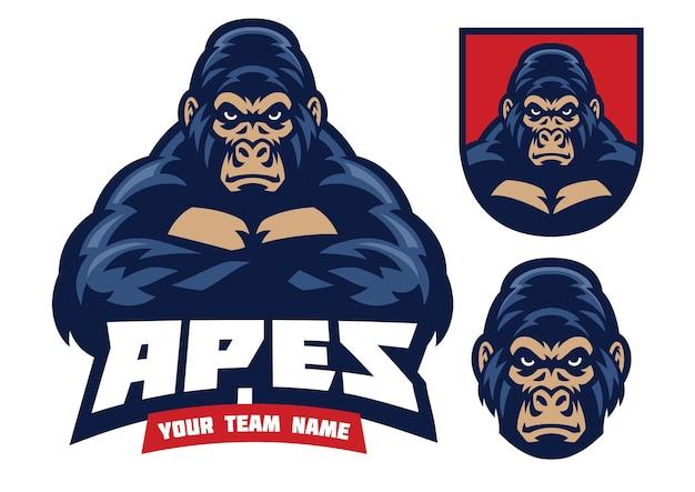 Logo della mascotte gorilla con le mani incrociate